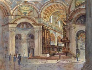 Tim Rose Architectural Artist St Paul's Interior