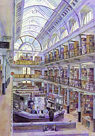 Tim Rose Artist impressions architectural perspectives Patent Office Library, London.