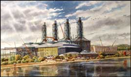 Tim Rose Artist impressions architectural perspectives Power Station construction at Conna's Quay