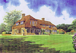 Tim Rose Artist impressions architectural perspectives. House portrait of a home in Surrey